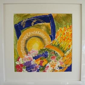 """Inramad litografi """"Hatt på blå stol"""" 43x43 cm (C)"""