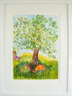 "Inramad litografi ""Röd Cylel"" 43x53 cm (F)"