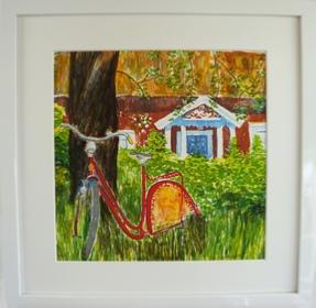 "Inramad litografi ""Under Äppelträdet"" 43x43 cm (E)"