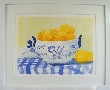 "Inramad litografi ""Citroner"" 53x43 cm (B)"