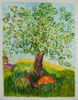 "Siv Leander litografi ""Röd Cykel"" (F)"