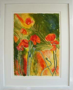 "Inramad litografi ""Vallmoäng"" 43x53 cm (G)"