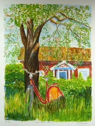 "Siv Leander litografi ""Under Äppelträdet"" (E)"