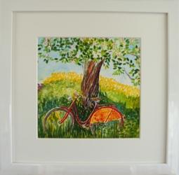 """Inramad litografi """"Röd Cykel"""" 33x33 cm (E)"""