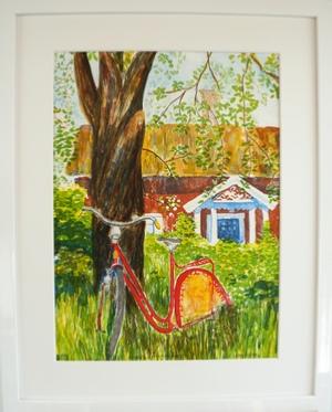 "Inramad litografi ""Under Äppelträdet"" 43x53 cm (E)"